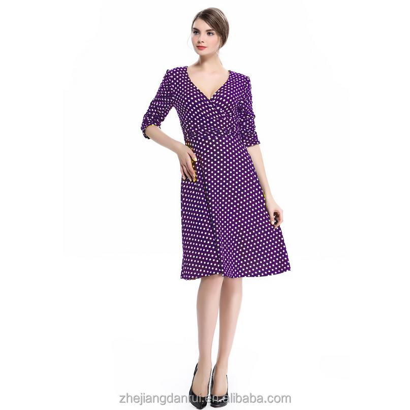 S-XXL Simple de las señoras de la manera del Color mujeres vestido ...