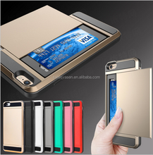 Brand Armor Slide Spacious Credit slide Card Case for iPhone 6,for iPhone 6 plus ShockProof Skin Hard case
