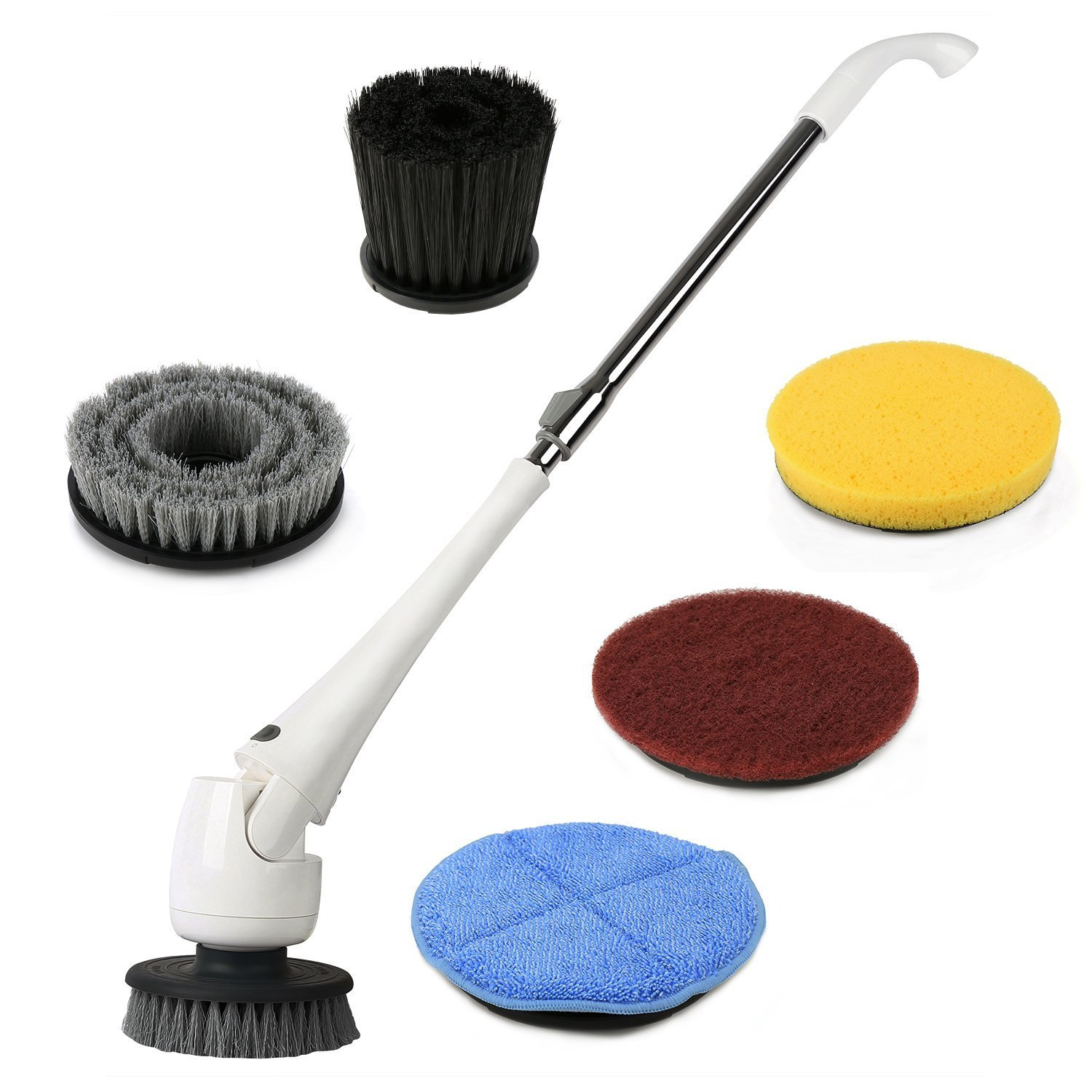 Cordless Electric Power Spin Scrubber, EVERTOP Power Spin Scrubber Cleaning Brush with 5 Brush Heads, Extension Pole and Rechargeable Battery, for Bathroom, Floor, Tile, Wall, Shower, Bathtub