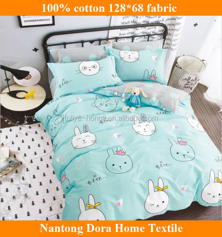 Lovely pink/green rabbit printing 100 cotton fabric for children bed sheet /duvet cover/comforter/pillow case