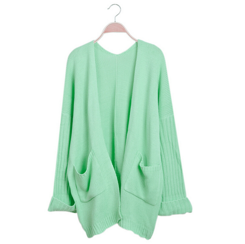 46021956fc Get Quotations · winter new woman cardigan sweater candy colored loose long  thick knit sweater
