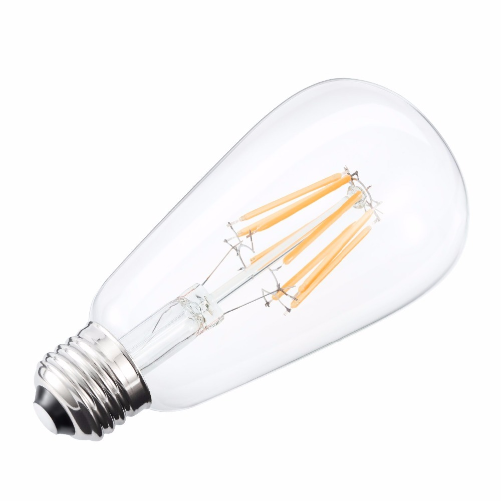 6W Dimmable Edison Style Vintage LED Filament Light Bulb, 3000K Soft White 60W Incandescent Replacement