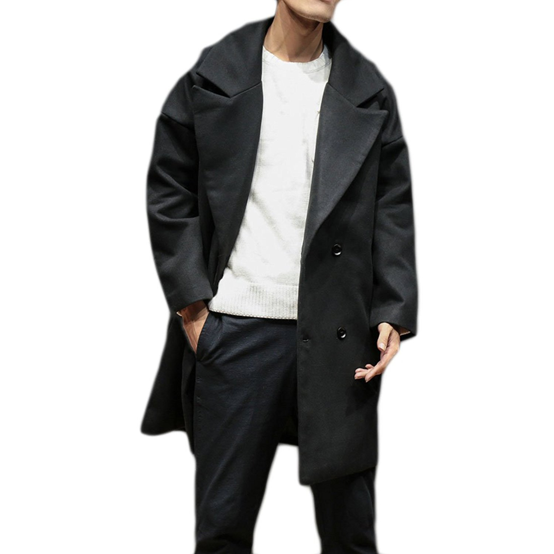 UUYUK-Men Winter Fall Double-Breasted Solid Warm Windproof Pea Coats Outwear