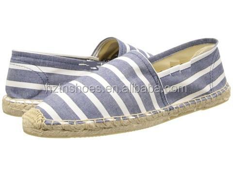 2015 nuevo verano mujeres pisos alpargatas zapatos vintage clásico raya vaquero zapatillas casual zapatos del holgazán