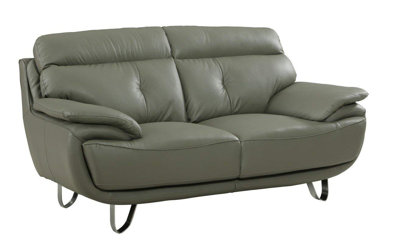 Blackjack Furniture A159-GRAY-L A159 Contemporary Faux Leather Loveseat, Gray