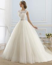 2016 Princess Wedding Dresses Jewel Appliques Beaded Tulle Bridal Gowns Vestidos de Novia