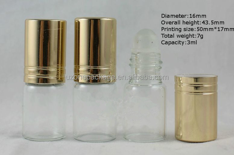 30ml mini glass deodorant roll on bottle for sample