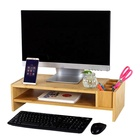 2-Tier Bamboo Monitor Stand Laptop Computer Monitor Riser With Adjustable Storage Accessories