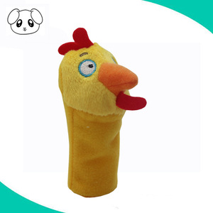 Custom soft yellow stuffed chicken plush toy finger hand puppet mini stuffing animal puppet toy