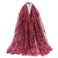 Factory direct wholesale muslim hijab bufandas embroidery lace scarf chiffon shawl