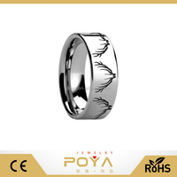 POYA Jewelry Deer Skull Tungsten Ring for Mens Wedding Band