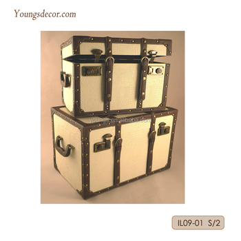 Decorative Home Furniture MDF Wooden Storage Trunks Boxes Display Showcase with Leather Covered