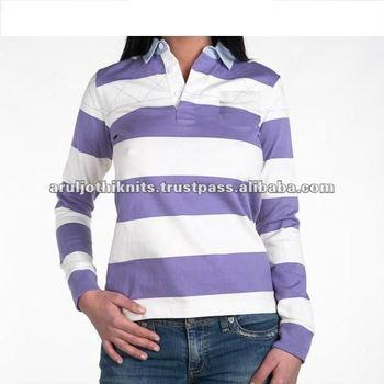 e40c9a10ea Women's Long Sleeve Striped Rugby Polo Shirt - Buy Polo Shirt Design ...