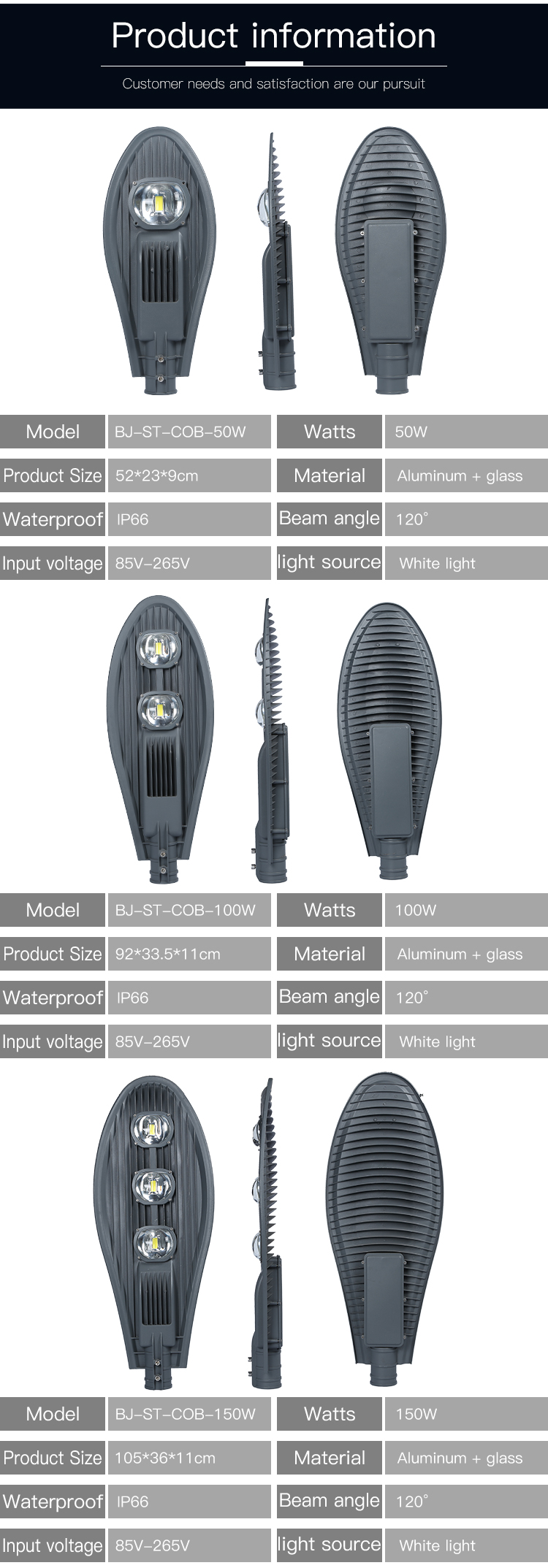High power cheap price highway waterproof ip66 50w 100w 120w 150w led street light