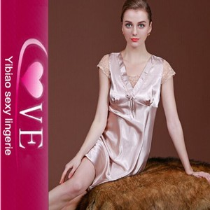 High-grade mature women night dress satin silk lingerie
