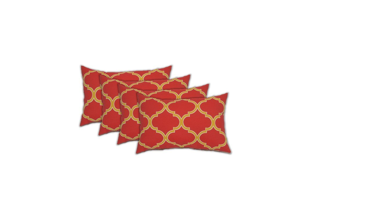 Resort Spa Home Decor Set of 4 Indoor/Outdoor Decorative Lumbar/Rectangle Pillows - Red and Yellow Pattern