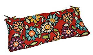 """Red, Blue, Green, Purple Contemporary Floral Indoor / Outdoor Tufted Cushion with Ties for Bench, Swing, Glider - Choose Size (58"""" x 17"""")"""