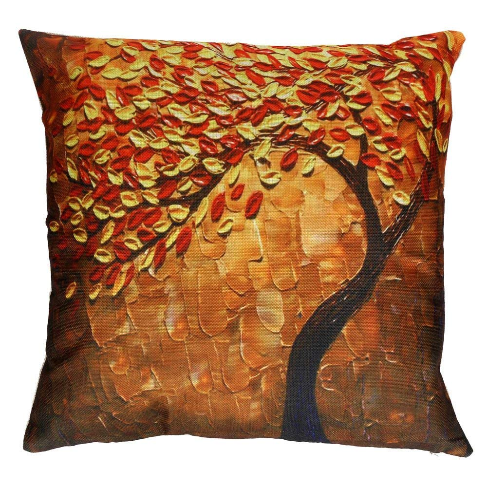 Pillow Cases, E-Scenery Clearance Sale! Flower Tree Square Decorative Throw Pillow Covers Cushion Cases for Sofa Bedroom Car Home Decor, 18 x 18 Inch (Orange)
