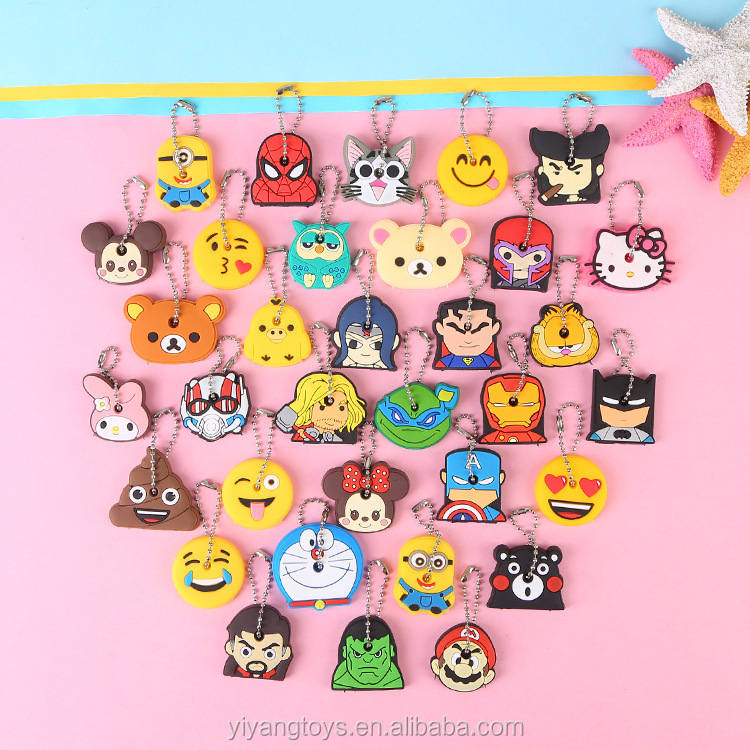 Cartoon anime cute key cover cap silicone stitch bear Keychain personalized gifts promotional custom Key Chain