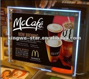 Advertisement Handicraft Crystal Acrylic Led Menu Board