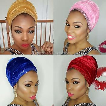 Hqt08 Queency African Women Beading Velvet Turban Head Tie Nigeria Gele In  Gold With Sequins Border - Buy Nigeria Gele 110882258b8
