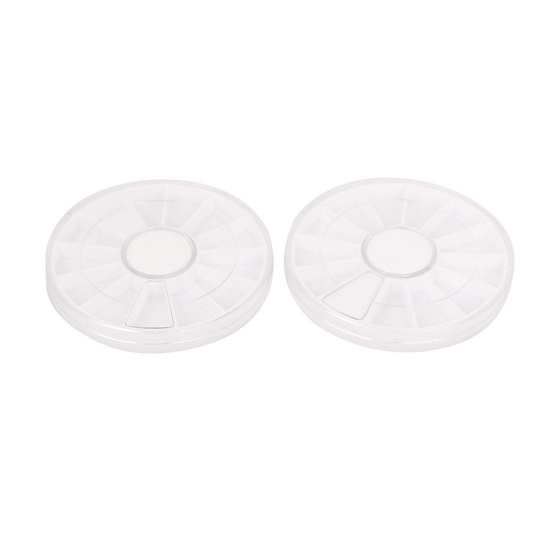 Aexit Plastic Round Tool Organizers Rotatable 12 Components Storage Box White Tool Boxes Clear 2pcs