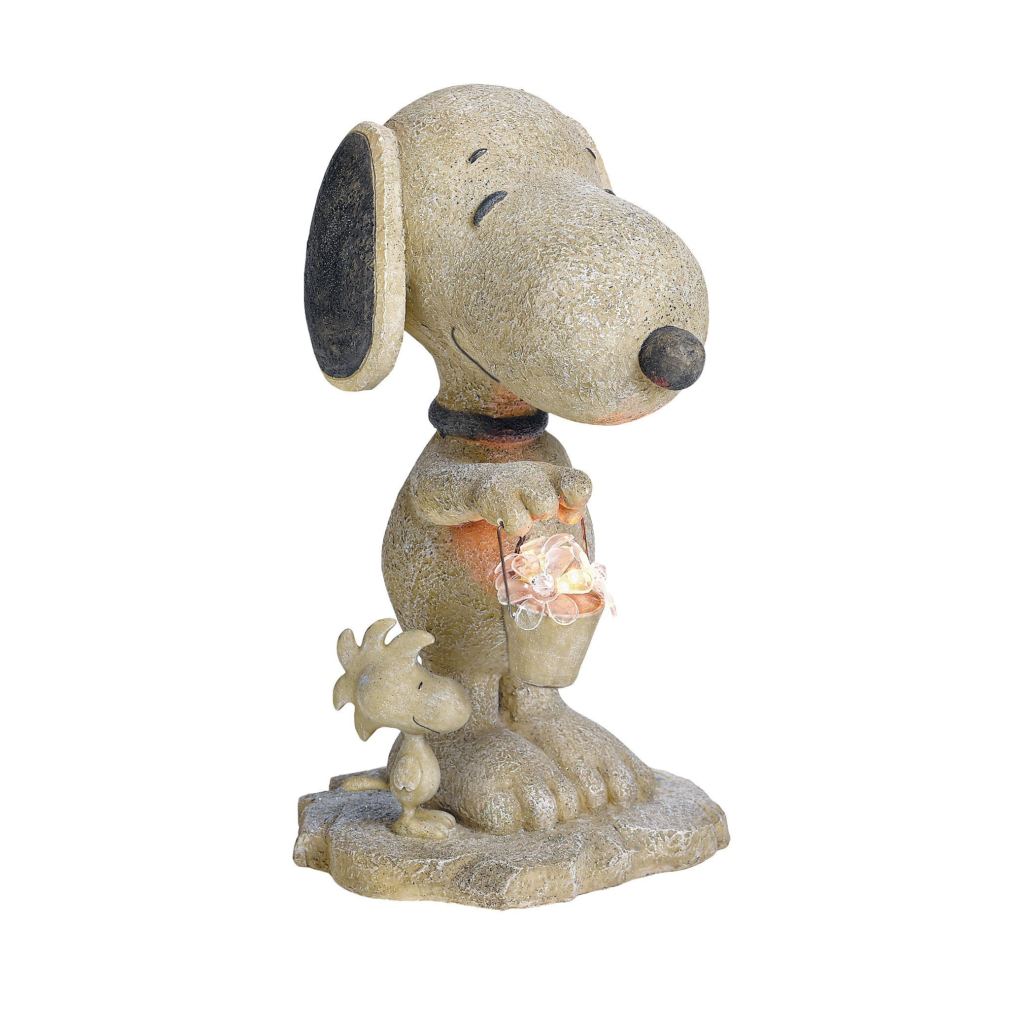 Get Quotations · Roman Lights Peanuts Snoopy With Flower Bucket Solar  Powered Outdoor Garden Statue, 18 Inch
