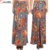 2018 New women's high waist banded paisley floral print plus size knit long maxi skirts