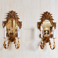 PU070 European Style Framed Gold Leaf Wall Lamp