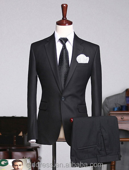 Dark Black Color One Button Notch Lapel Business Men Suit With ...