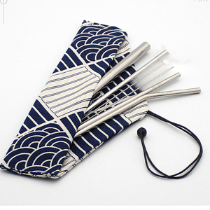 custom Reusable Straw set wholesale Stainless Steel metal drinking straw  with Cleaner Brush with drawstring pouch