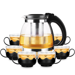 Eco-friendly Tea Set Transparent Coffee Pot Heat-resistant Glass Teapot with Stainless Steel Infuser-4 Cups