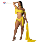 Fashion Three Pieces Swimwear Swim Stylish Dress Women Lady Beachwear