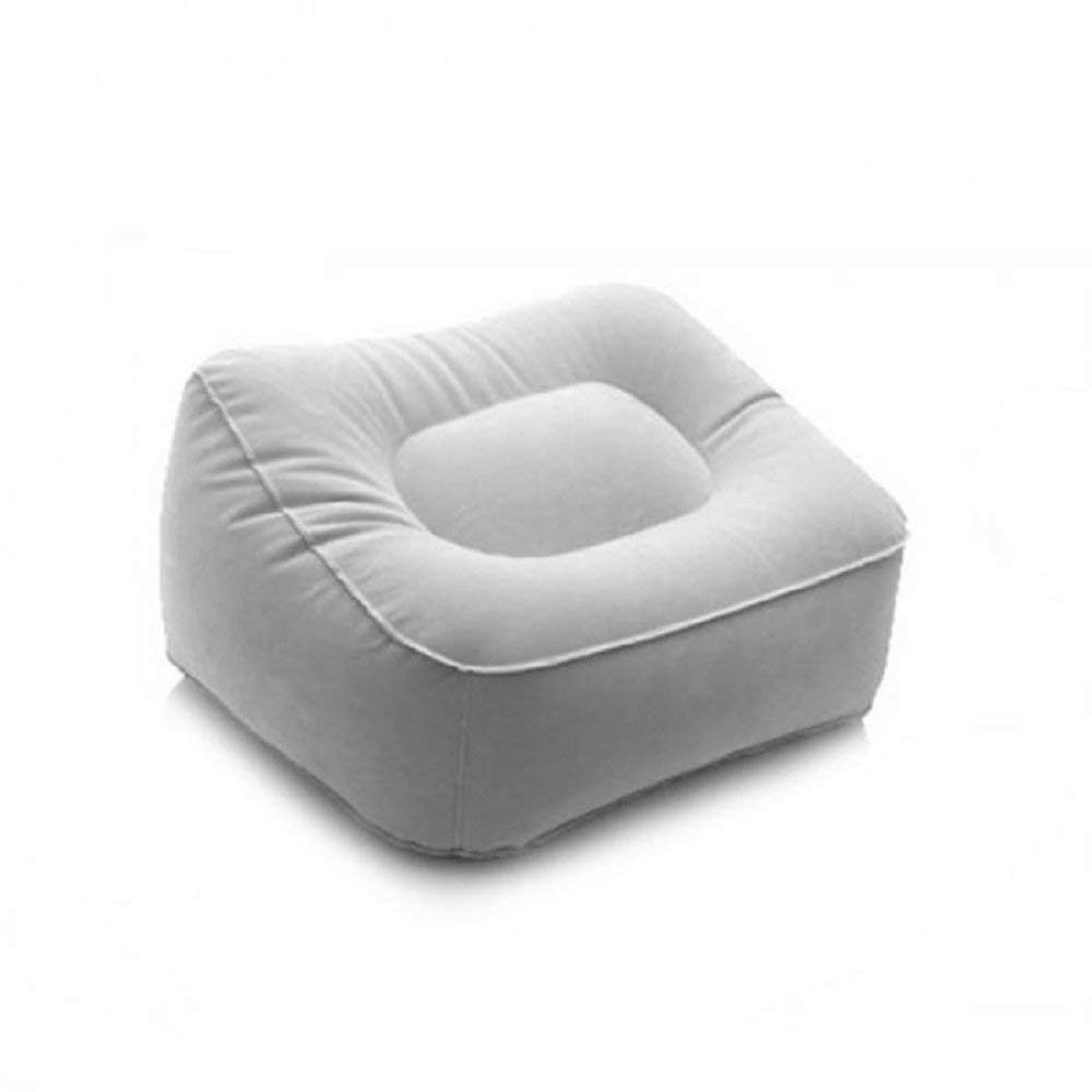 LB Portable Inflatable Foot Rest Pillow Cushion PVC Air Travel Office Home Leg Up Footrest Relaxing Feet Tool (Grey)