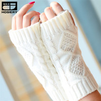 Solid Gloves Fall Winter Warm Ladies Girl Arm Warmer Long Gloves Fingerless Knitting Wool Mittens