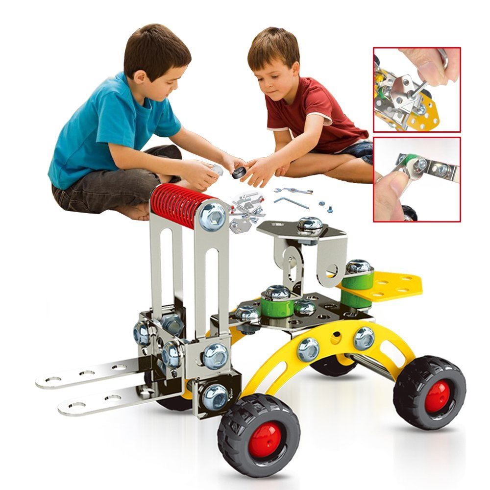 Educational Building Blocks Kit, 74pcs Engineering Excavator DIY Construction Toy, Creative Metal Bricks Toy for 6+ Boy
