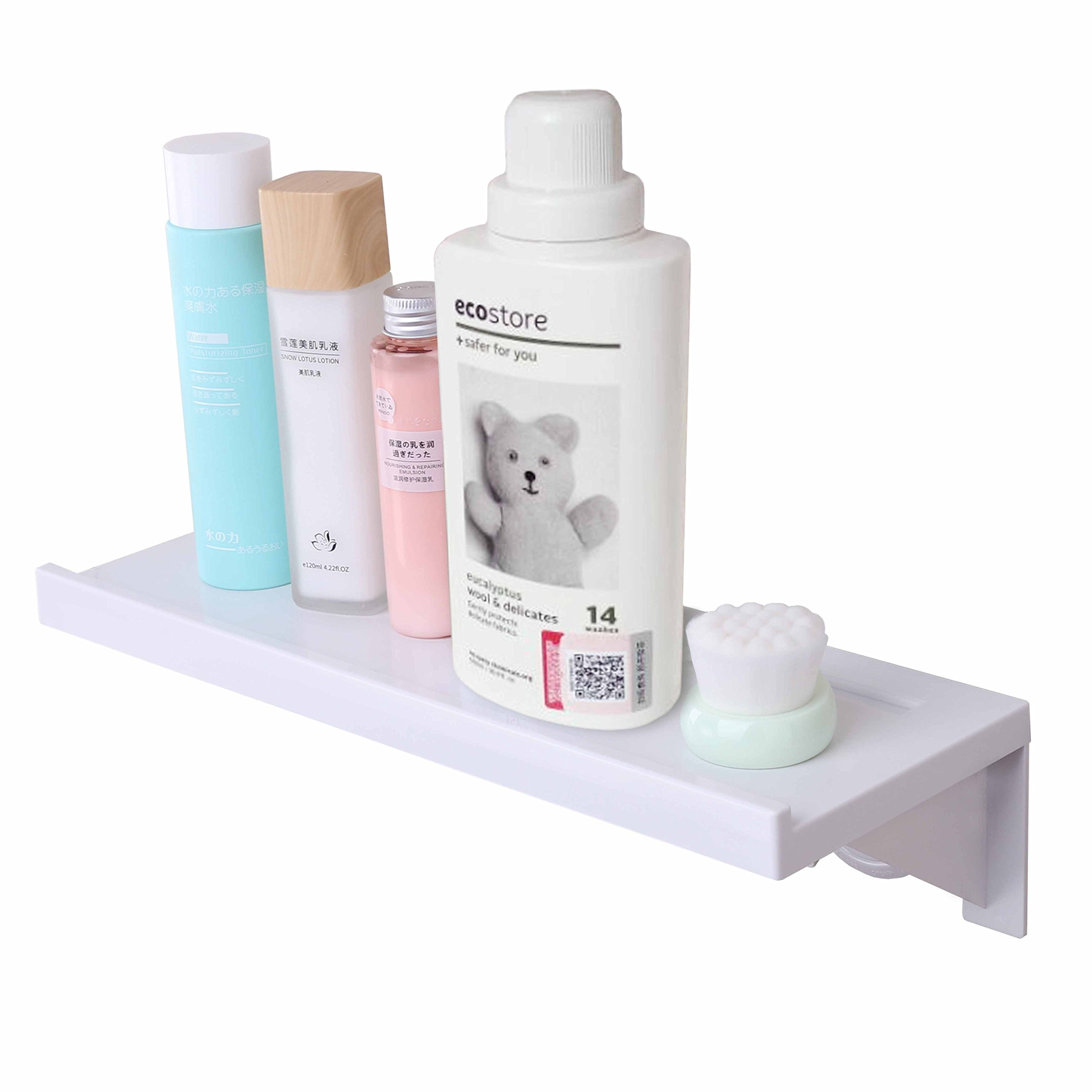 Easy & Eco Life Suction Cup Floating Shelf Bathroom Shower Rack Window Mirror Wall Corner Mounted (No Nails No Tools)