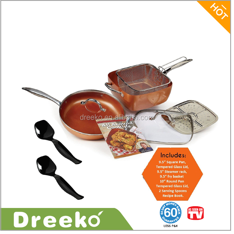 9-piece Cookware Set with Serving Spoons and Recipe Book, Copper