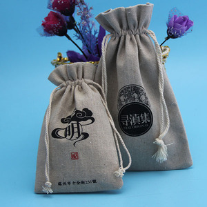 China Factory Wholesale Small Screen Printed Gift Used Coffee Burlap Bag