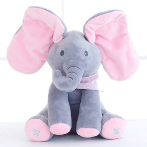 Amazon top sell new style seek and hide electric elephant musical plush toys custom print logo