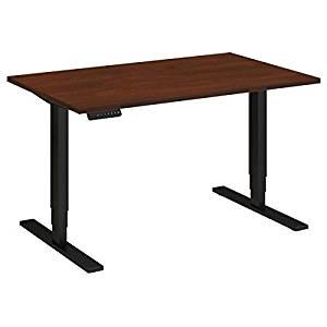 "Bush Sit Stand Desk Dimensions: 48""W X 30""D Height Range 23"" Low - 49""H - Hansen Cherry/Black"