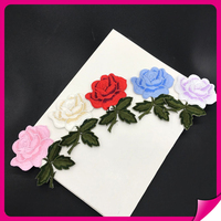 Top selling unique fashion design embroidery rose flower patches
