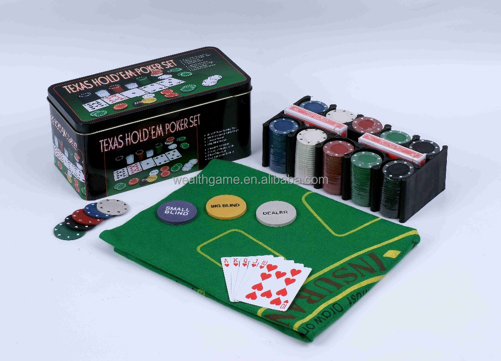 200 pz Texas Hold Em Poker Chip Set Completo in Scatola di Latta