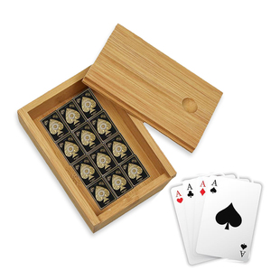 Luxury custom bamboo print varnish playing card wooden packaging box with sliding lid