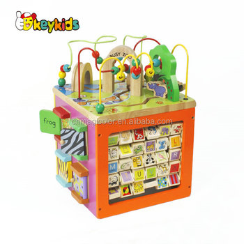 wholesale cheap baby large wooden activity cube with high quality W12D048B