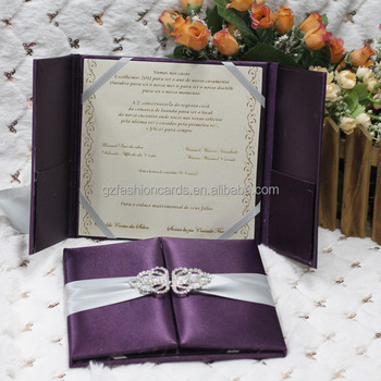 Luxury High Quality Purple Silk Box Wedding Invitations Wholesale