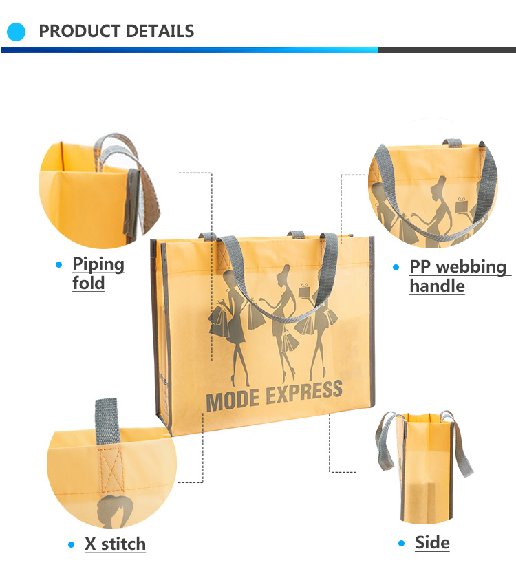Eco-friendly non woven polypropylene tote bag, Shiny reusable recylable tote bags for shopping