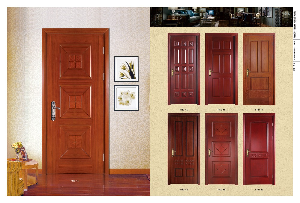 Solid red oak wood slab door with factory finish buy for Solid wood doors for sale