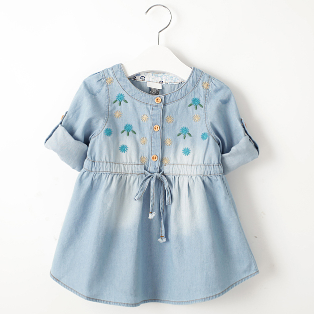 049993fcca Get Quotations · Denim dress for girl Spring Autumn Children Clothes Soft  and comfortable lacing Embroidery dresses Girls Kids