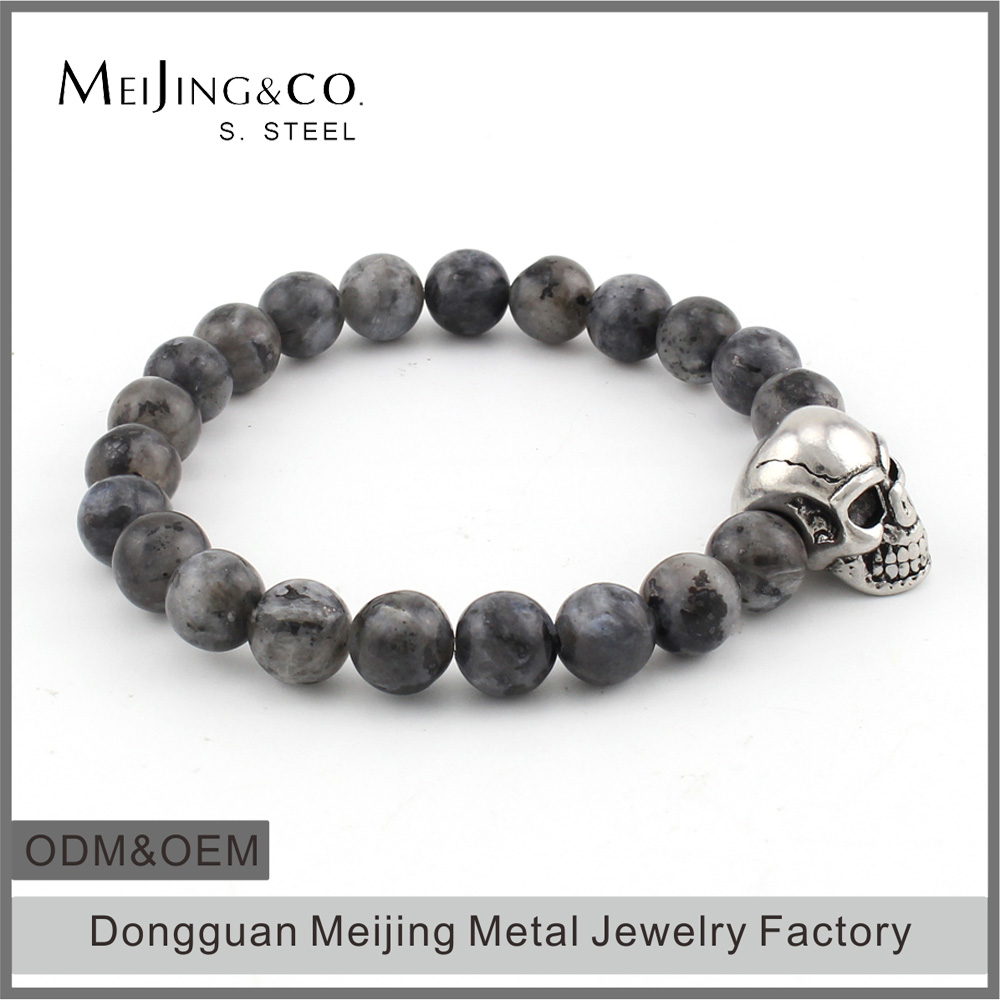 Wholesale Stretch Mens Skull Semi Precious Stone Bead Bracelet